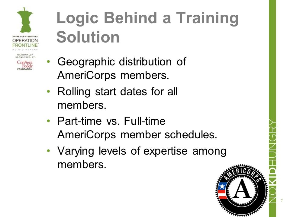 Logic Behind a Training Solution Geographic distribution of AmeriCorps members.