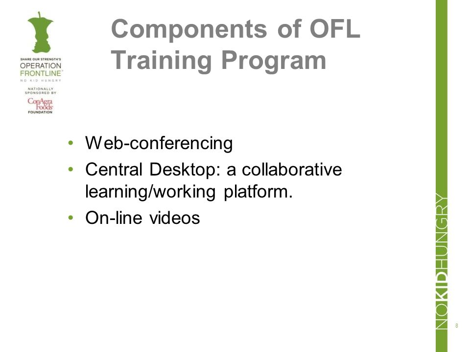 Components of OFL Training Program Web-conferencing Central Desktop: a collaborative learning/working platform.