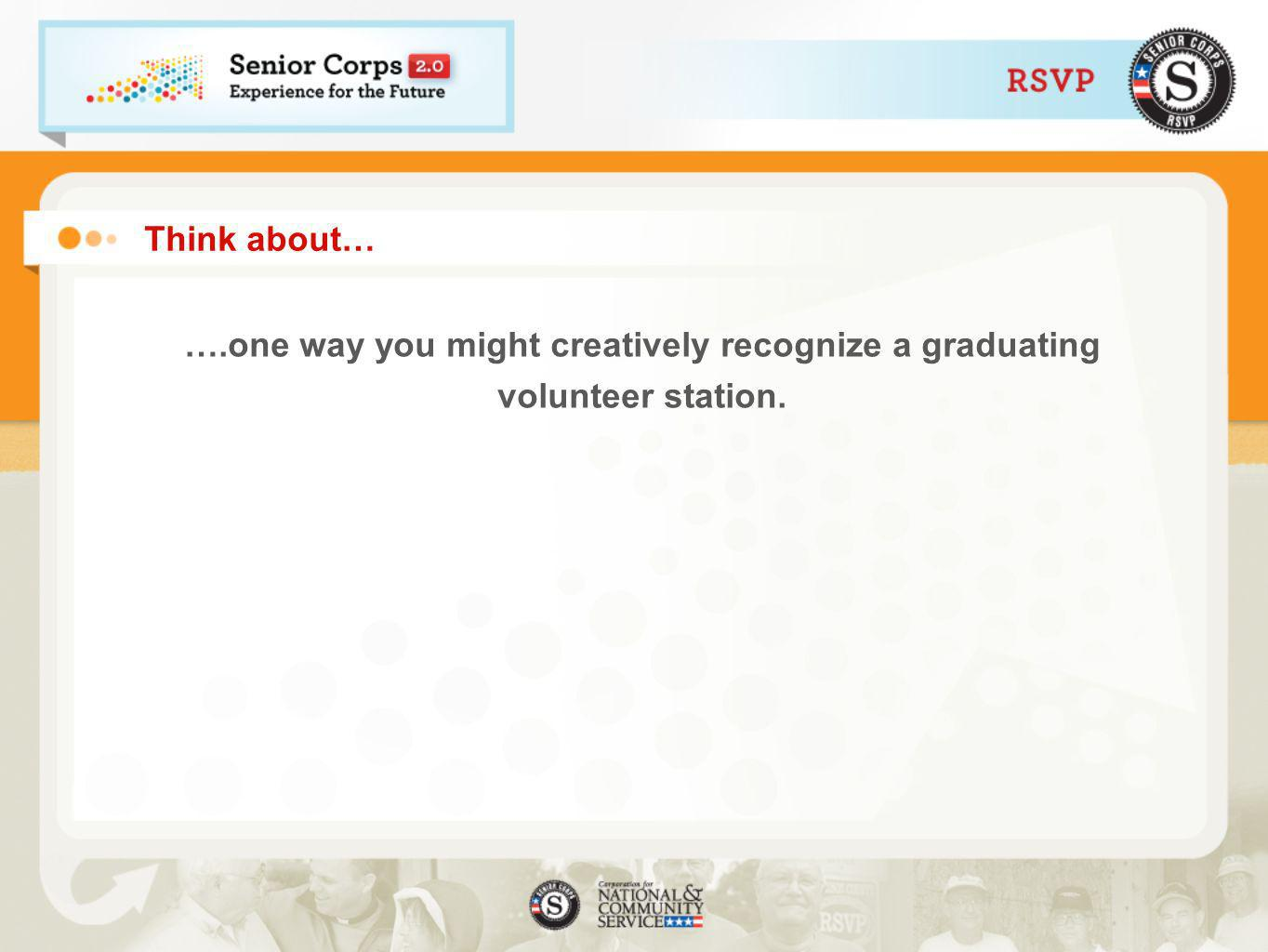 Think about… ….one way you might creatively recognize a graduating volunteer station.