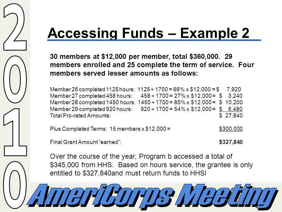 Accessing Funds – Example 2 30 members at $12,000 per member, total $360,000.