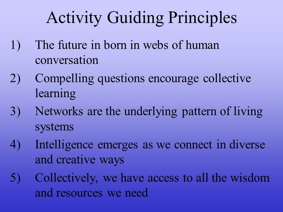 Activity Guiding Principles 1)The future in born in webs of human conversation 2)Compelling questions encourage collective learning 3)Networks are the