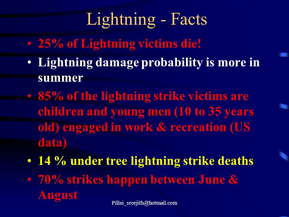 Pillai_sreejith@hotmail.com Lightning - Facts 25% of Lightning victims die! Lightning damage probability is more in summer 85% of the lightning strike
