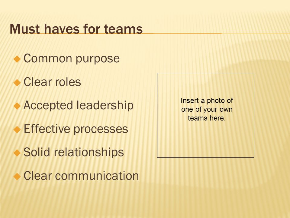Must haves for teams Common purpose Clear roles Accepted leadership Effective processes Solid relationships Clear communication Insert a photo of one