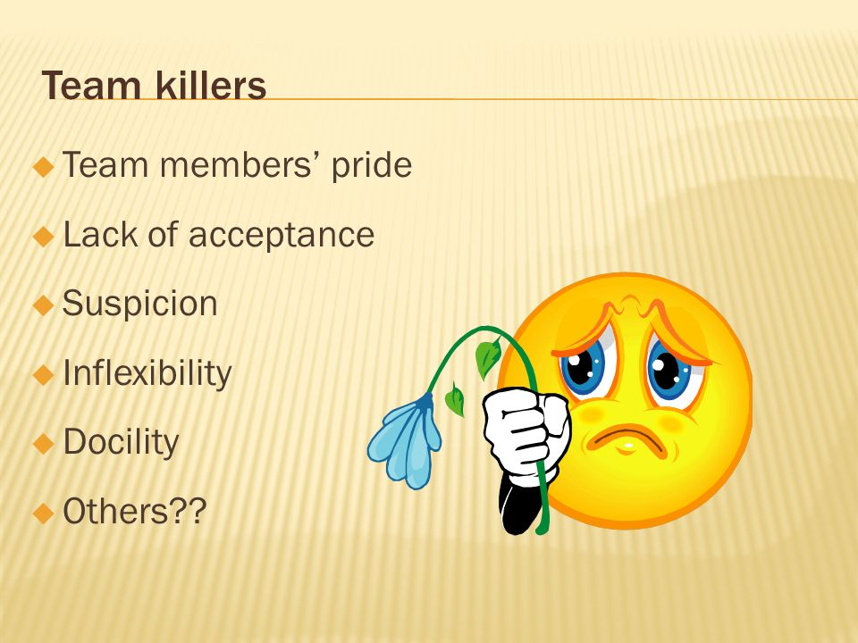 Team killers Team members pride Lack of acceptance Suspicion Inflexibility Docility Others??