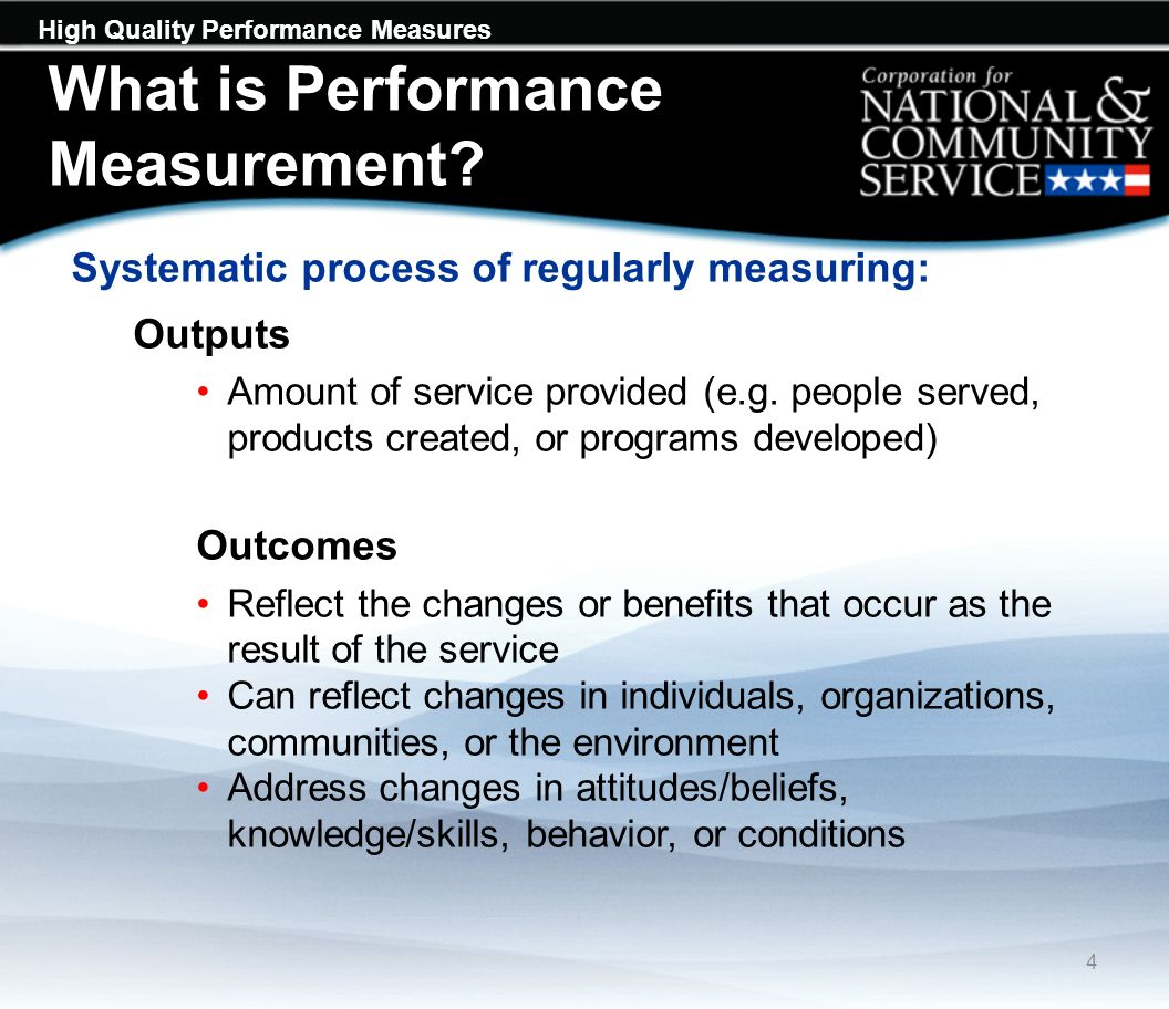 High Quality Performance Measures Performance Measurement and Impact Evaluation Similarities Systematic data collection Measurement of progress Collect data on: What took place (intervention) Outputs (amount of service) Outcomes (changes) 5