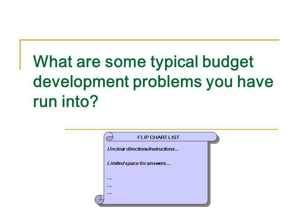 What are some typical budget development problems you have run into? Unclear directions/instructions… Limited space for answers… … Unclear directions/