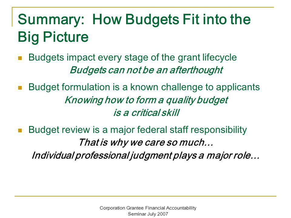 Corporation Grantee Financial Accountability Seminar July 2007 Summary: How Budgets Fit into the Big Picture Budgets impact every stage of the grant lifecycle Budgets can not be an afterthought Budget formulation is a known challenge to applicants Knowing how to form a quality budget is a critical skill Budget review is a major federal staff responsibility That is why we care so much… Individual professional judgment plays a major role…