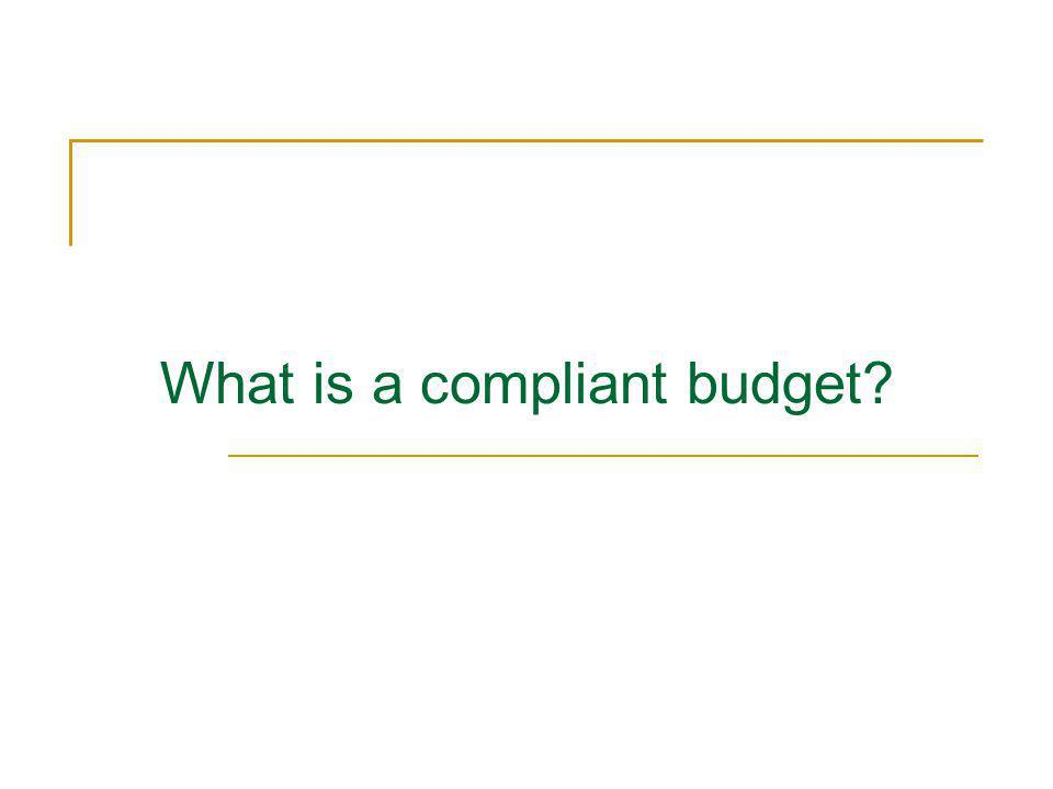 What is a compliant budget