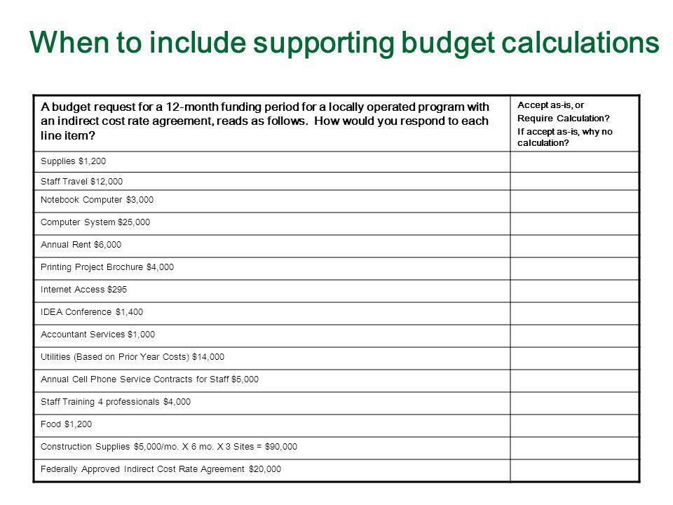 When to include supporting budget calculations A budget request for a 12-month funding period for a locally operated program with an indirect cost rat