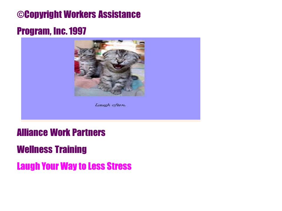 ©Copyright Workers Assistance Program, Inc. 1997 Alliance Work Partners Wellness Training Laugh Your Way to Less Stress
