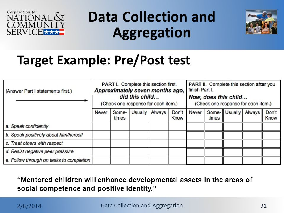 Data Collection and Aggregation 2/8/2014 Data Collection and Aggregation 31 Target Example: Pre/Post test Mentored children will enhance developmental