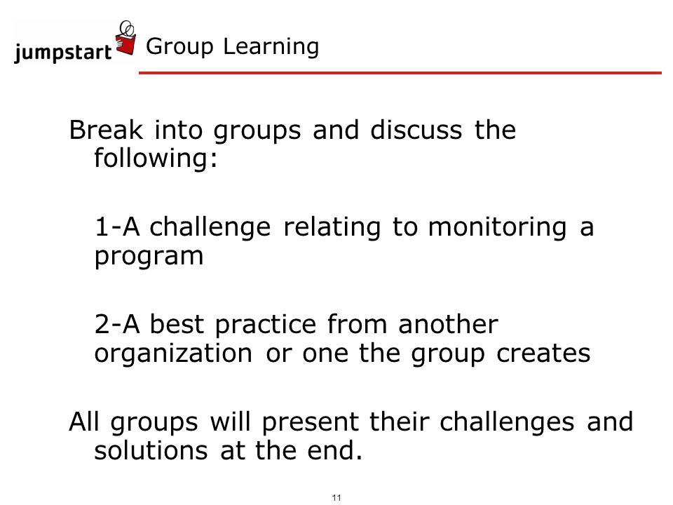 11 Group Learning Break into groups and discuss the following: 1-A challenge relating to monitoring a program 2-A best practice from another organizat