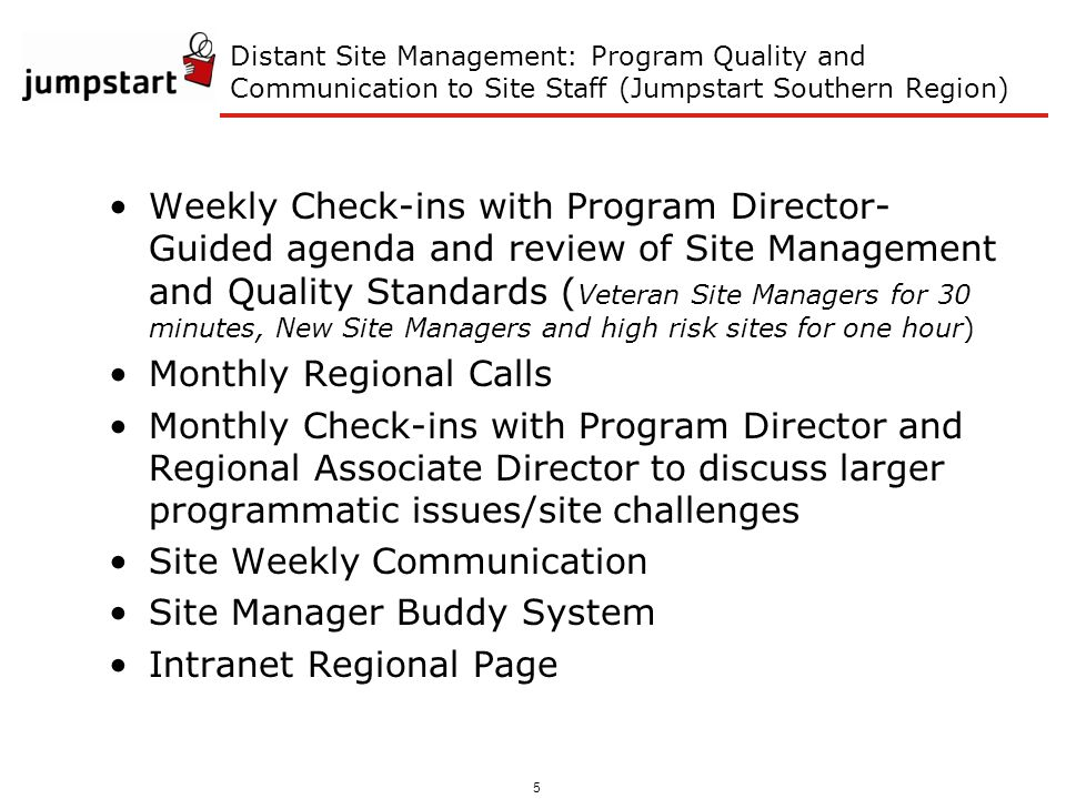 5 Distant Site Management: Program Quality and Communication to Site Staff (Jumpstart Southern Region) Weekly Check-ins with Program Director- Guided