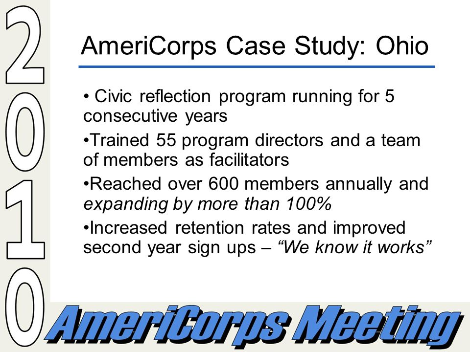 AmeriCorps Case Study: Ohio Civic reflection program running for 5 consecutive years Trained 55 program directors and a team of members as facilitators Reached over 600 members annually and expanding by more than 100% Increased retention rates and improved second year sign ups – We know it works