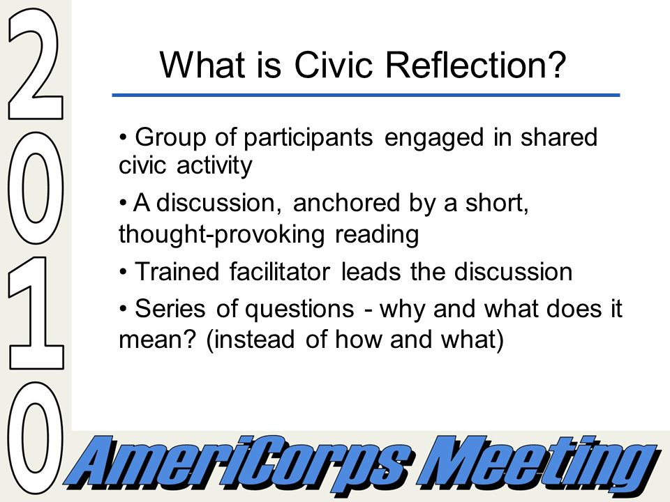 What is Civic Reflection.