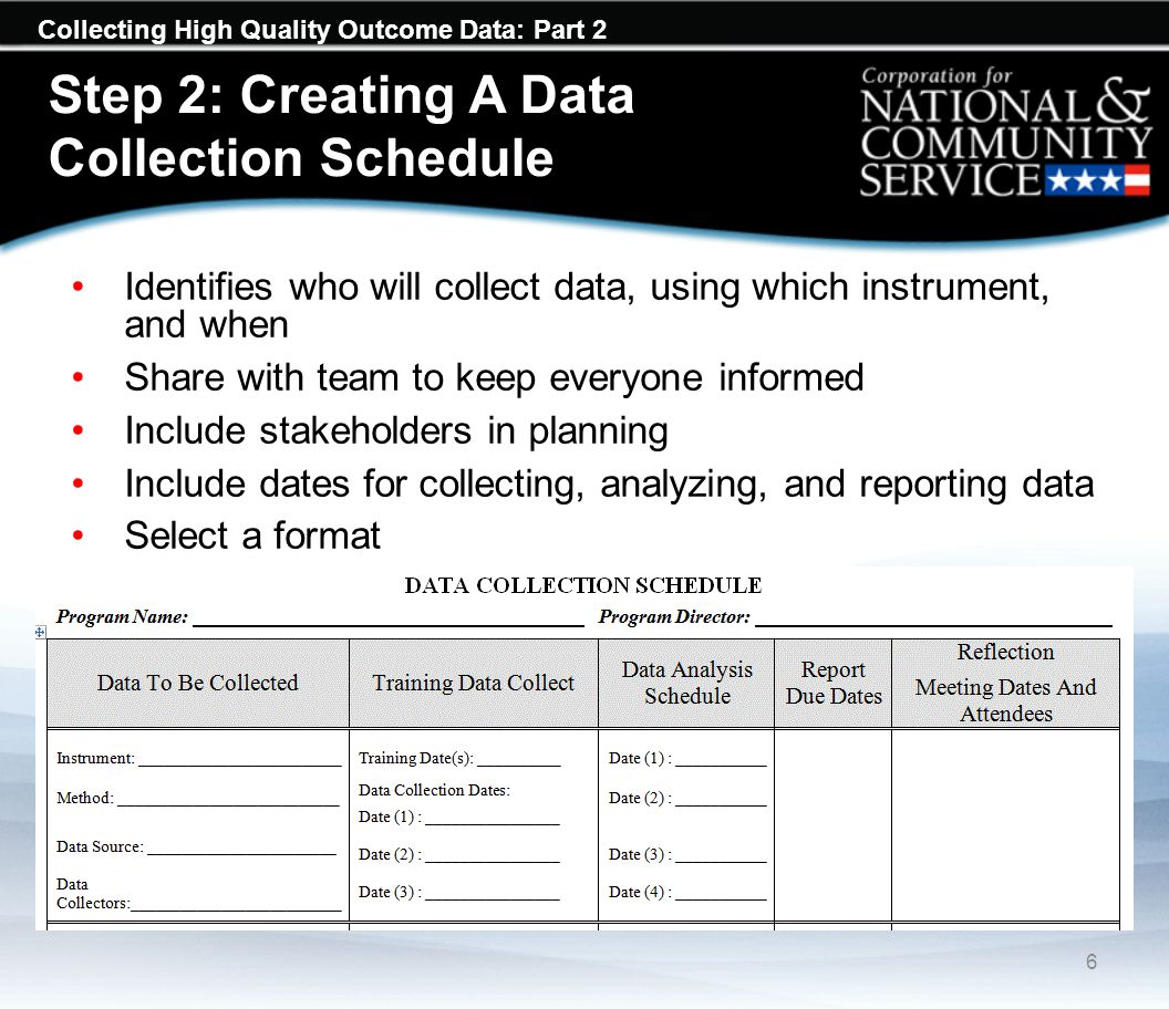 Collecting High Quality Outcome Data: Part 2 Step 2: Creating A Data Collection Schedule 6 Identifies who will collect data, using which instrument, a