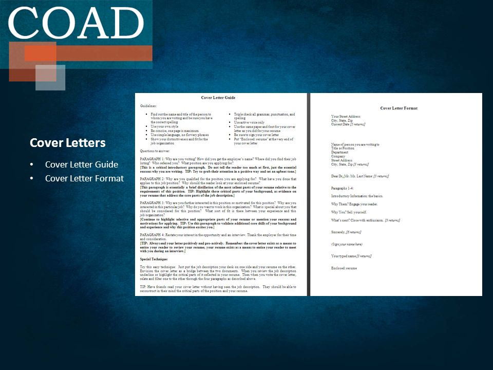 Cover Letters Cover Letter Guide Cover Letter Format