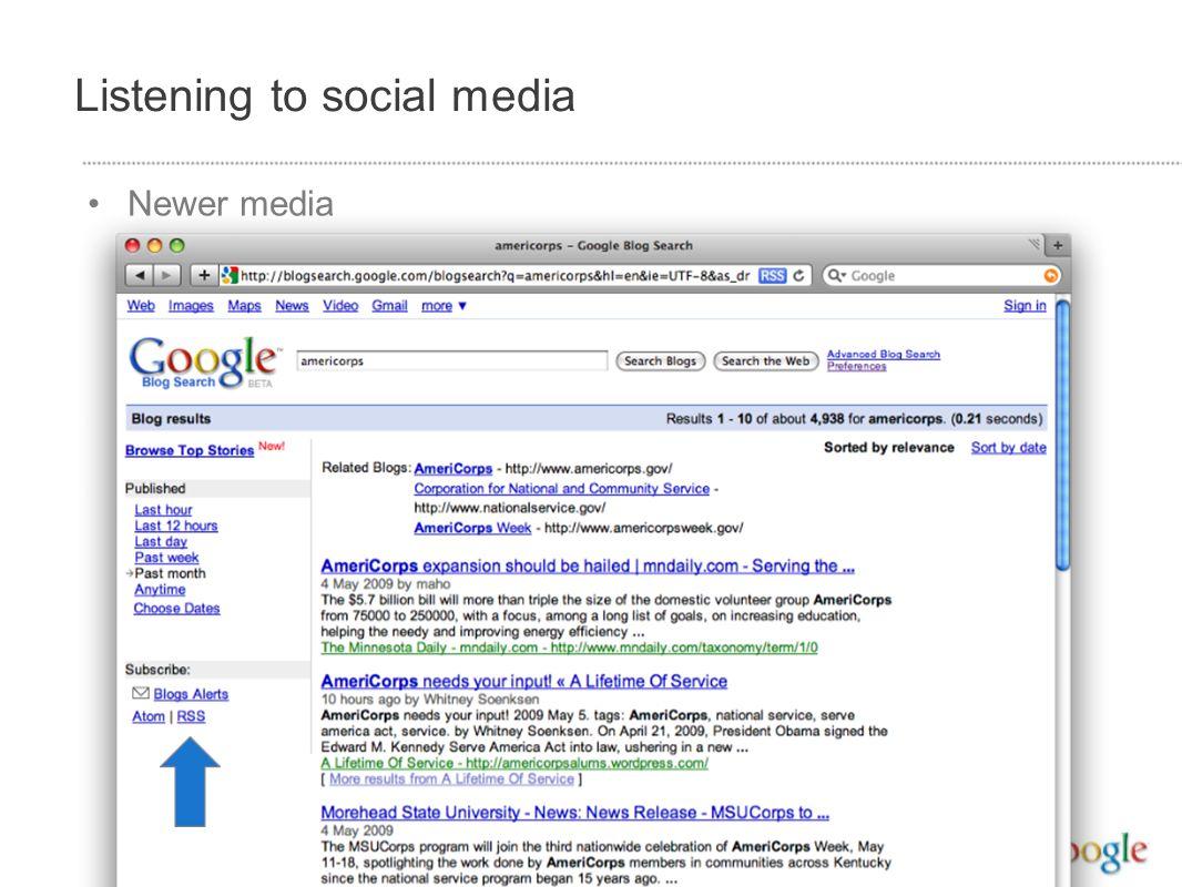 Listening to social media Newer media