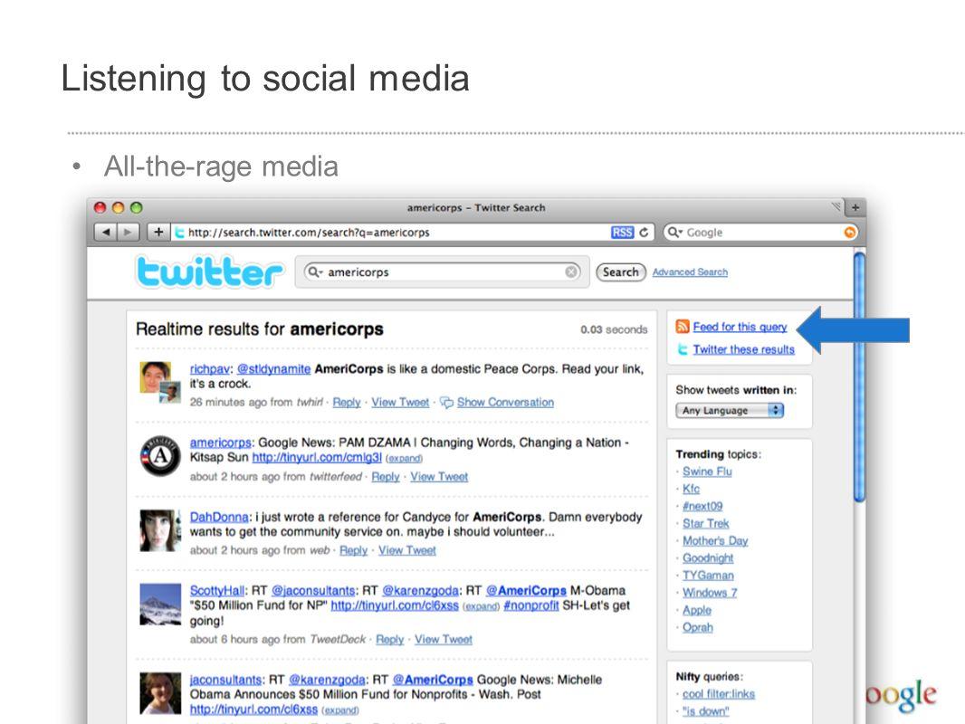 Listening to social media All-the-rage media