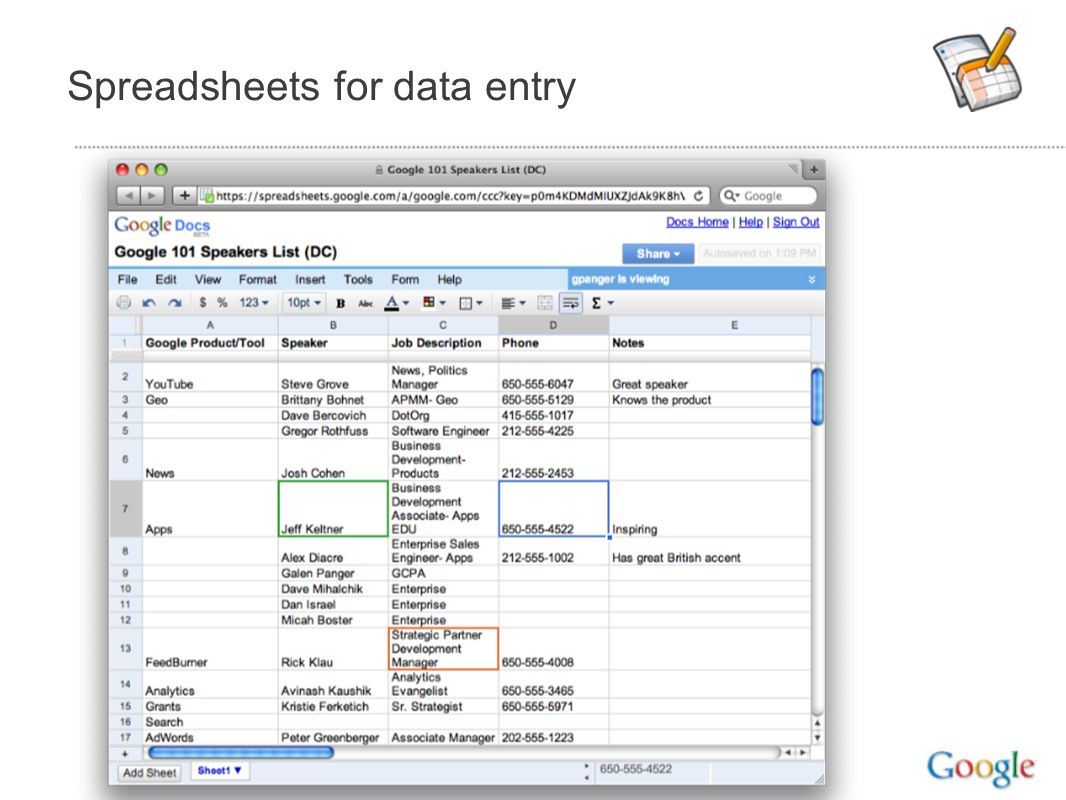 Spreadsheets for data entry