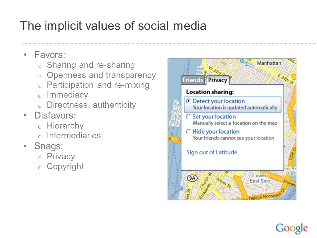 The implicit values of social media Favors: o Sharing and re-sharing o Openness and transparency o Participation and re-mixing o Immediacy o Directness, authenticity Disfavors: o Hierarchy o Intermediaries Snags: o Privacy o Copyright