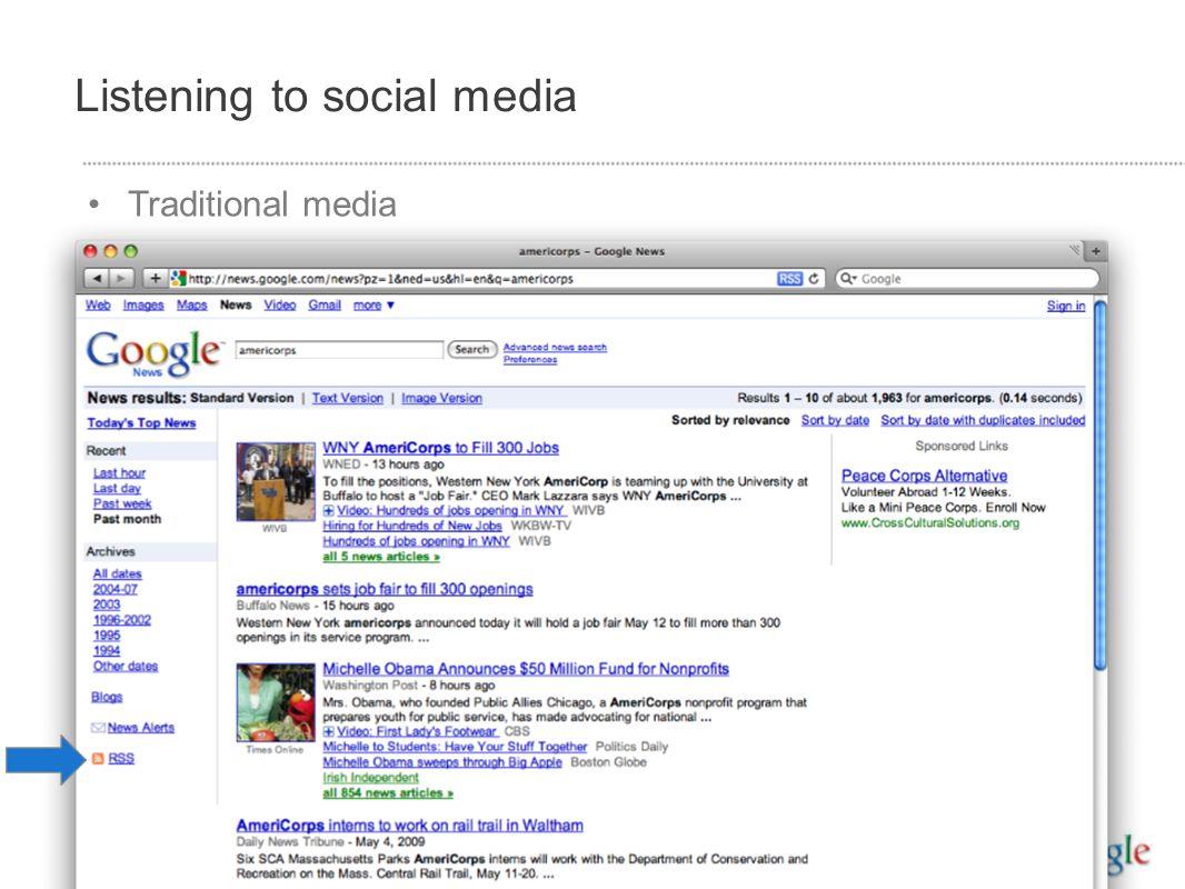Listening to social media Traditional media