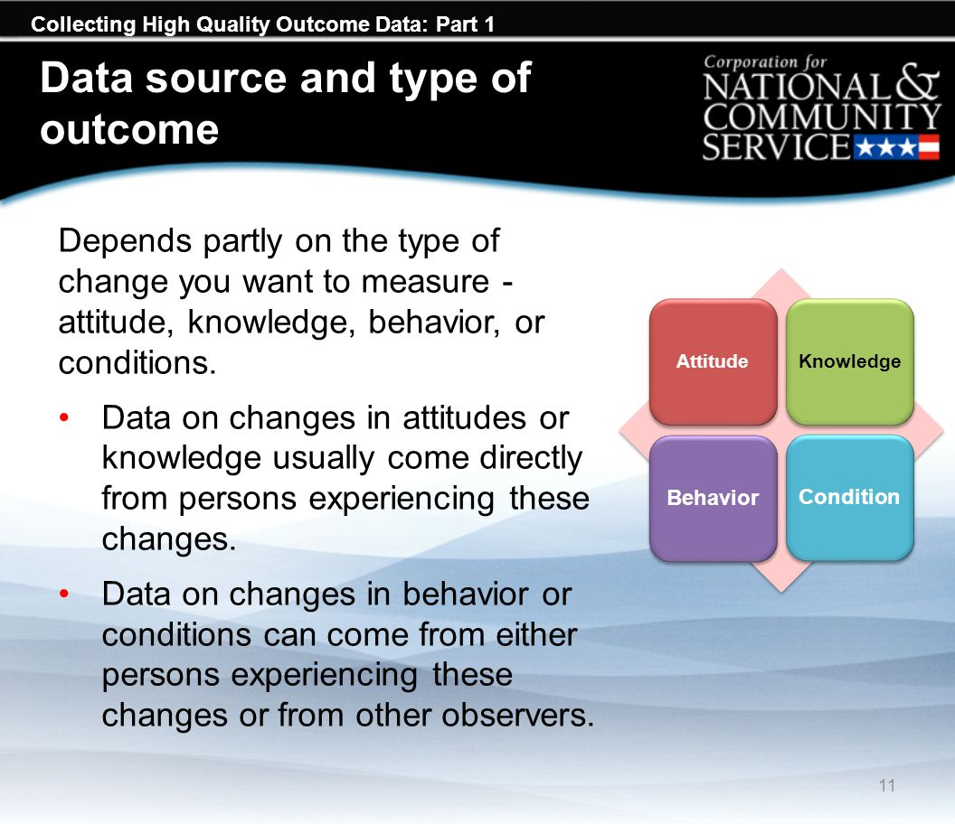 Collecting High Quality Outcome Data: Part 1 Data source and type of outcome Depends partly on the type of change you want to measure - attitude, knowledge, behavior, or conditions.