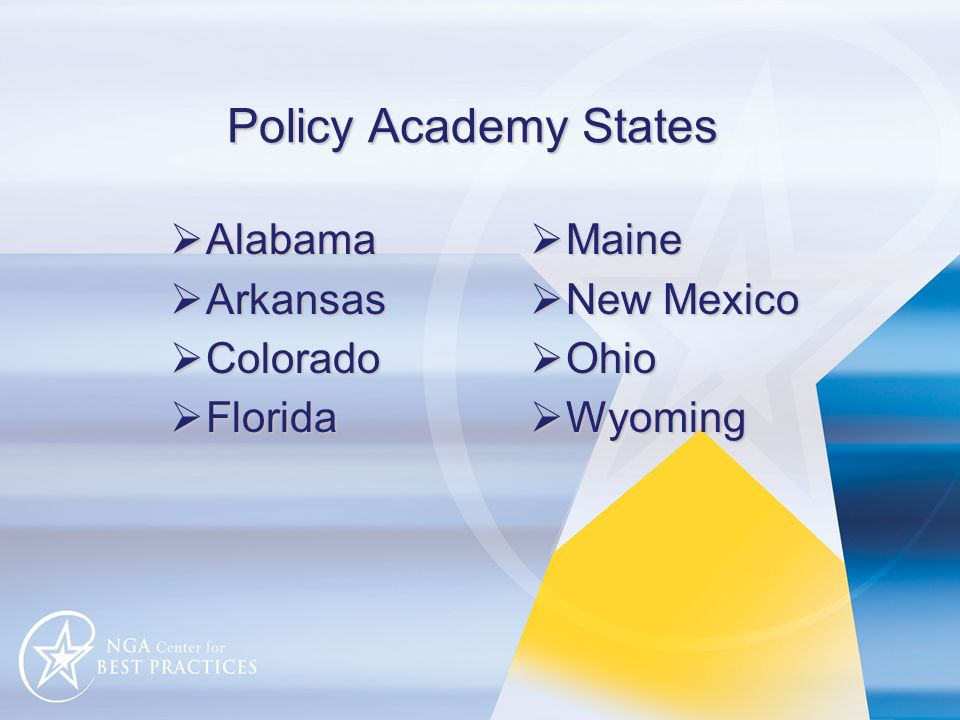 Policy Academy States Alabama Alabama Arkansas Arkansas Colorado Colorado Florida Florida Maine Maine New Mexico New Mexico Ohio Ohio Wyoming Wyoming