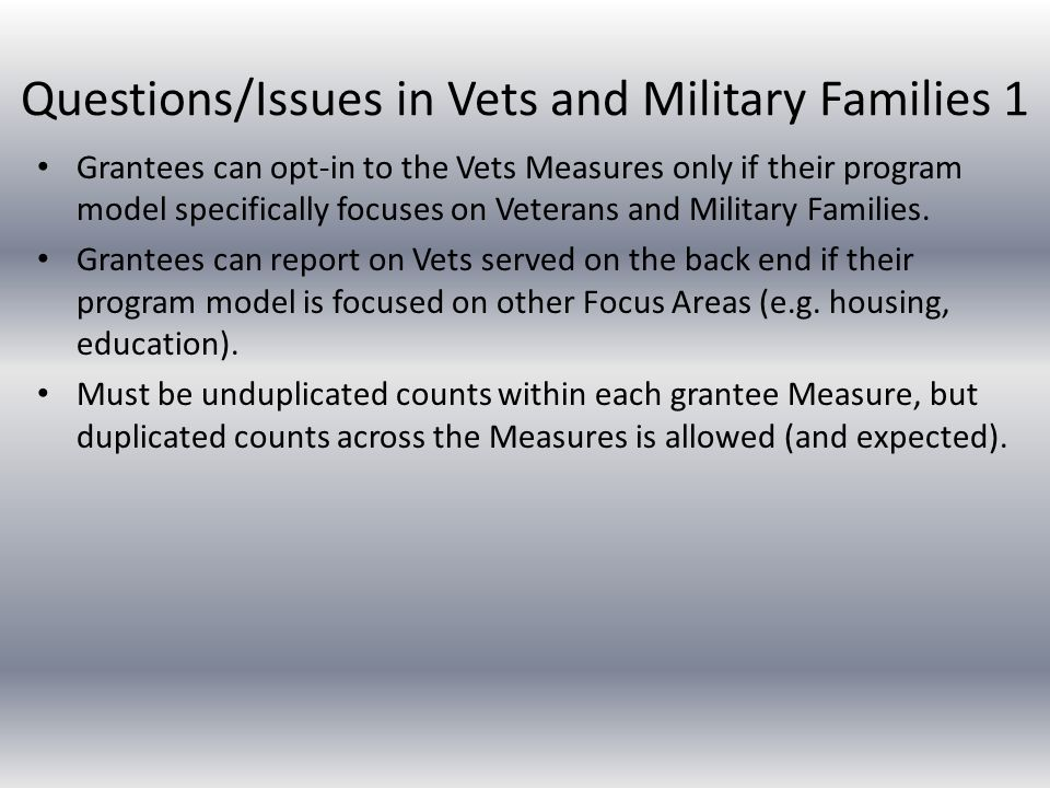 Questions/Issues in Vets and Military Families 2 The demographic categories for collecting data on veterans have changed significantly.