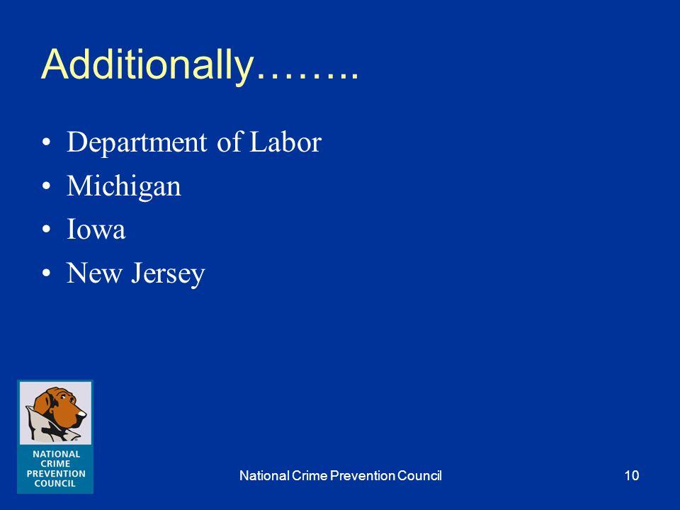 National Crime Prevention Council9 AmeriCorps VISTA 12-City Initiative Philadelphia, Providence, Cleveland, Dayton, Portland, Washington DC, Chicago, Charleston/ N.