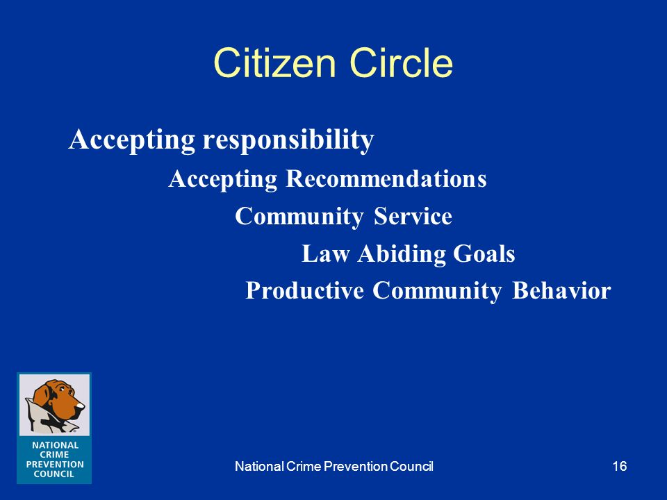 National Crime Prevention Council15 Citizen Circles Employment Family and marital Associates / Social Interaction Substance Abuse Community Functionin