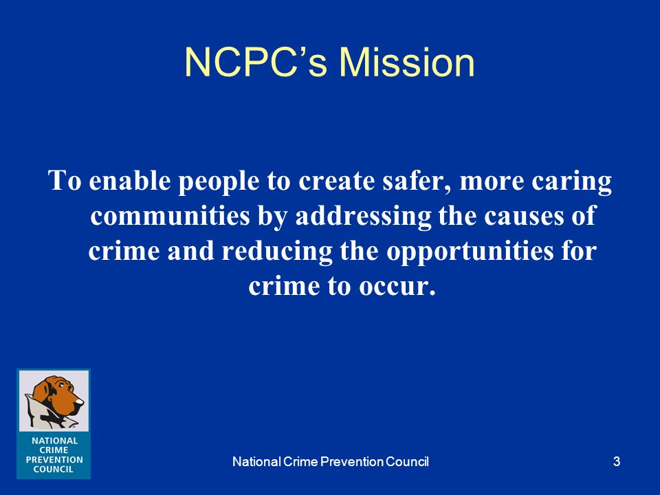 National Crime Prevention Council2 Goals Participant will be able to identify the breadth of the ex-offender reentry issue. Participants will be able