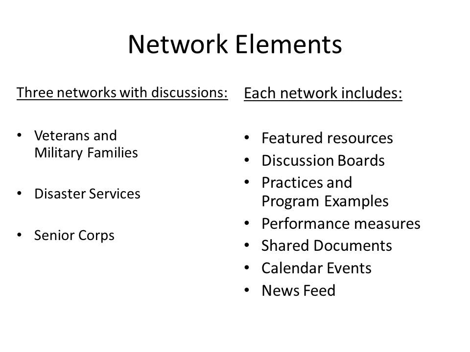 Network Elements Three networks with discussions: Veterans and Military Families Disaster Services Senior Corps Each network includes: Featured resources Discussion Boards Practices and Program Examples Performance measures Shared Documents Calendar Events News Feed