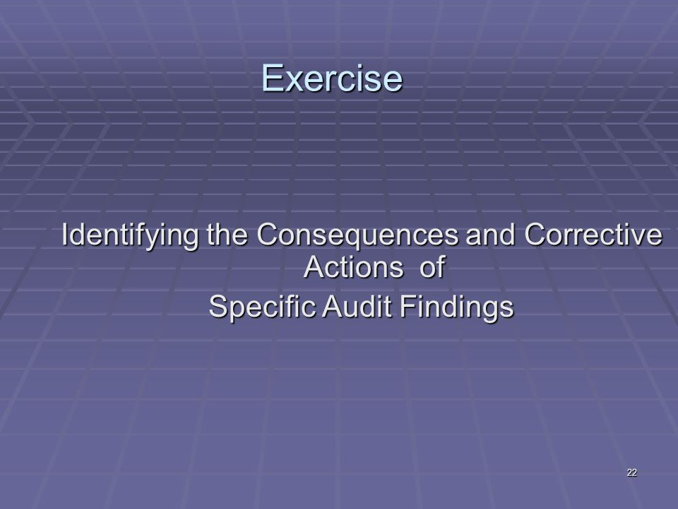22 Exercise Identifying the Consequences and Corrective Actions of Specific Audit Findings
