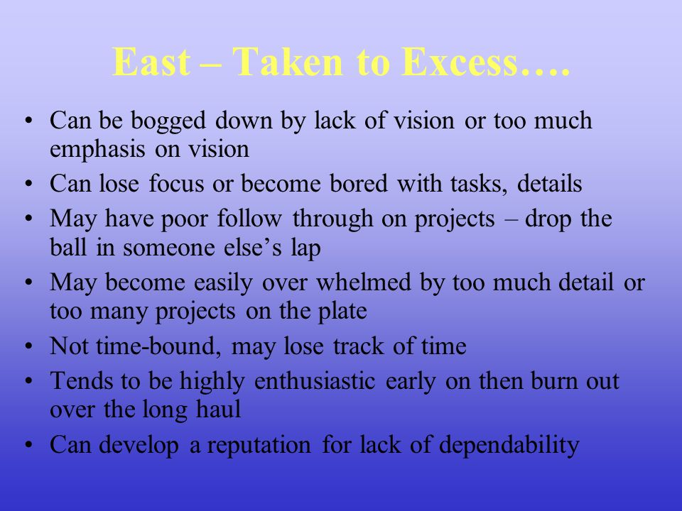 East – Taken to Excess….