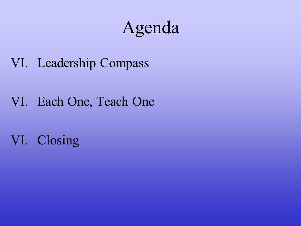 Agenda VI.Leadership Compass VI.Each One, Teach One VI.Closing