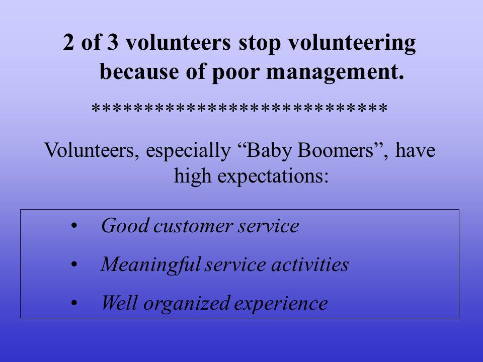 2 of 3 volunteers stop volunteering because of poor management. **************************** Volunteers, especially Baby Boomers, have high expectatio