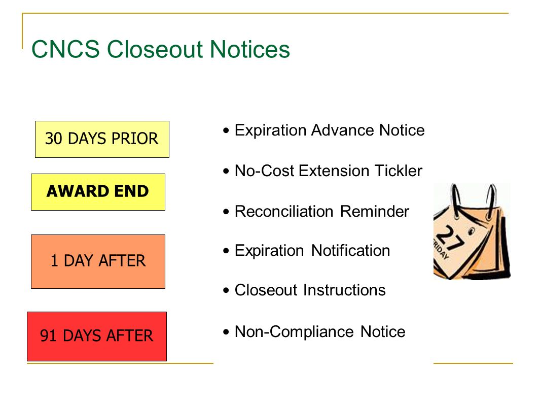 91 DAYS AFTER 1 DAY AFTER 30 DAYS PRIOR Reconciliation Reminder AWARD END Expiration Advance Notice No-Cost Extension Tickler Reconciliation Reminder