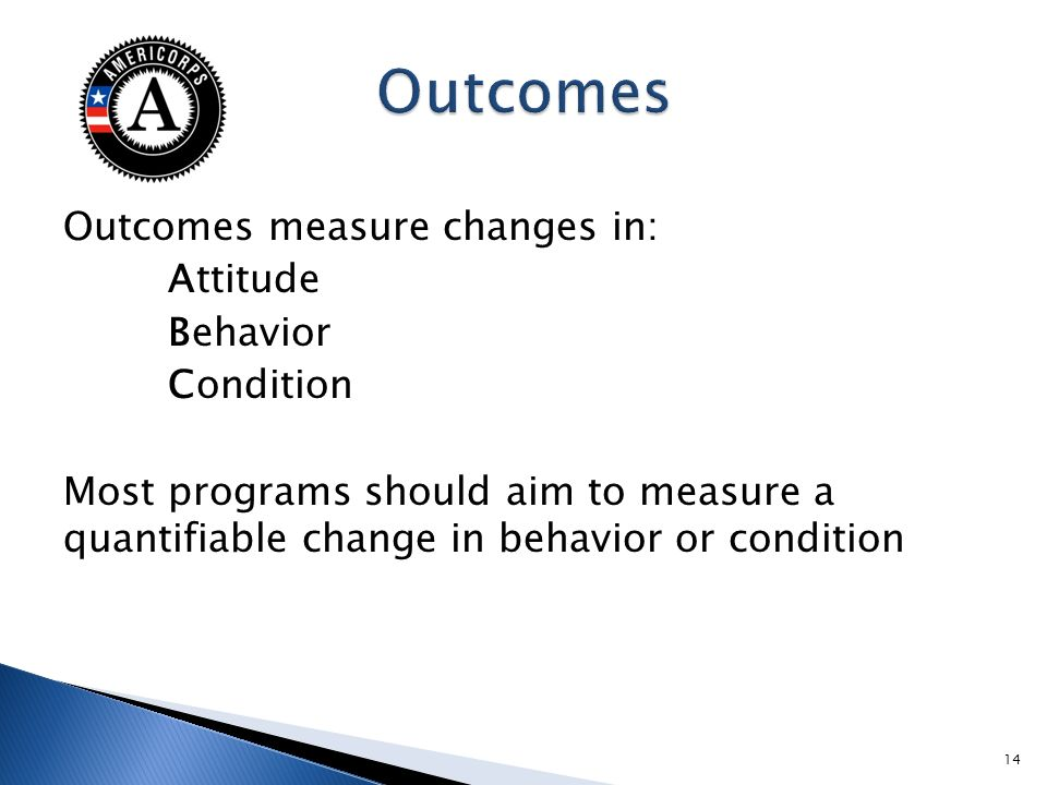 Outcomes measure changes in: Attitude Behavior Condition Most programs should aim to measure a quantifiable change in behavior or condition 14