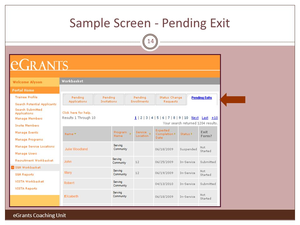 Sample Screen - Pending Exit eGrants Coaching Unit 14