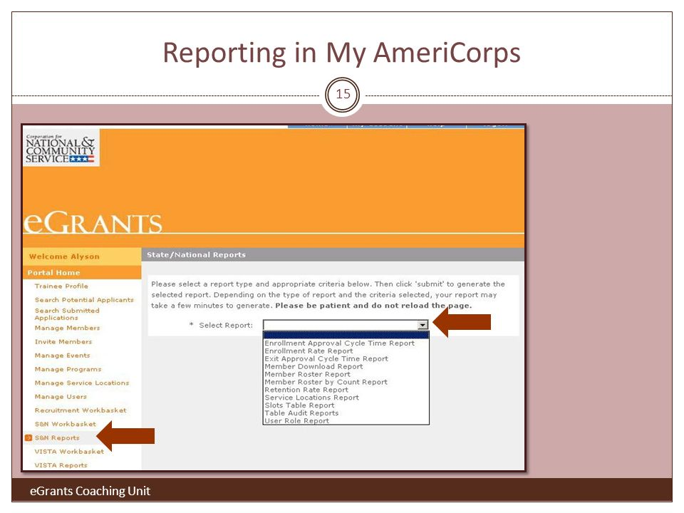 Reporting in My AmeriCorps eGrants Coaching Unit 15