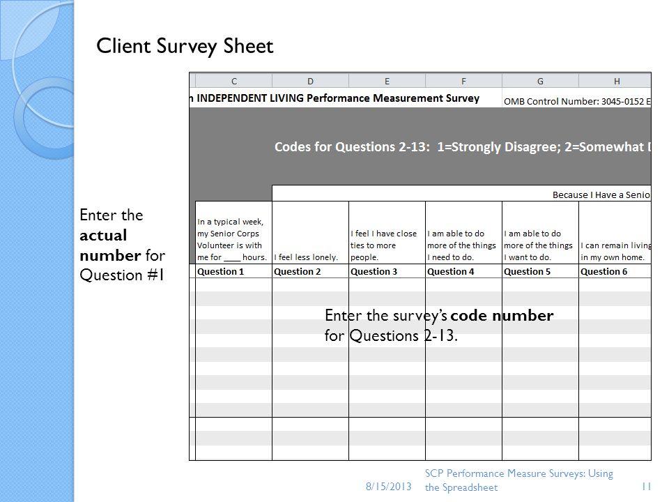 8/15/2013 SCP Performance Measure Surveys: Using the Spreadsheet11 Client Survey Sheet Enter the actual number for Question #1 Enter the surveys code