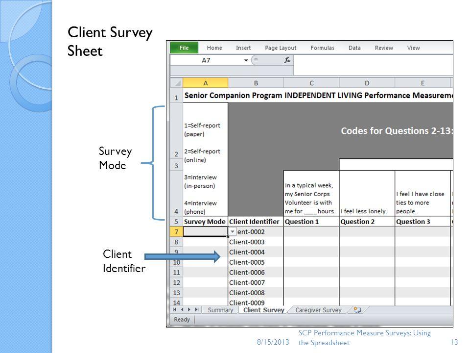 8/15/2013 SCP Performance Measure Surveys: Using the Spreadsheet13 Survey Mode Client Identifier Client Survey Sheet