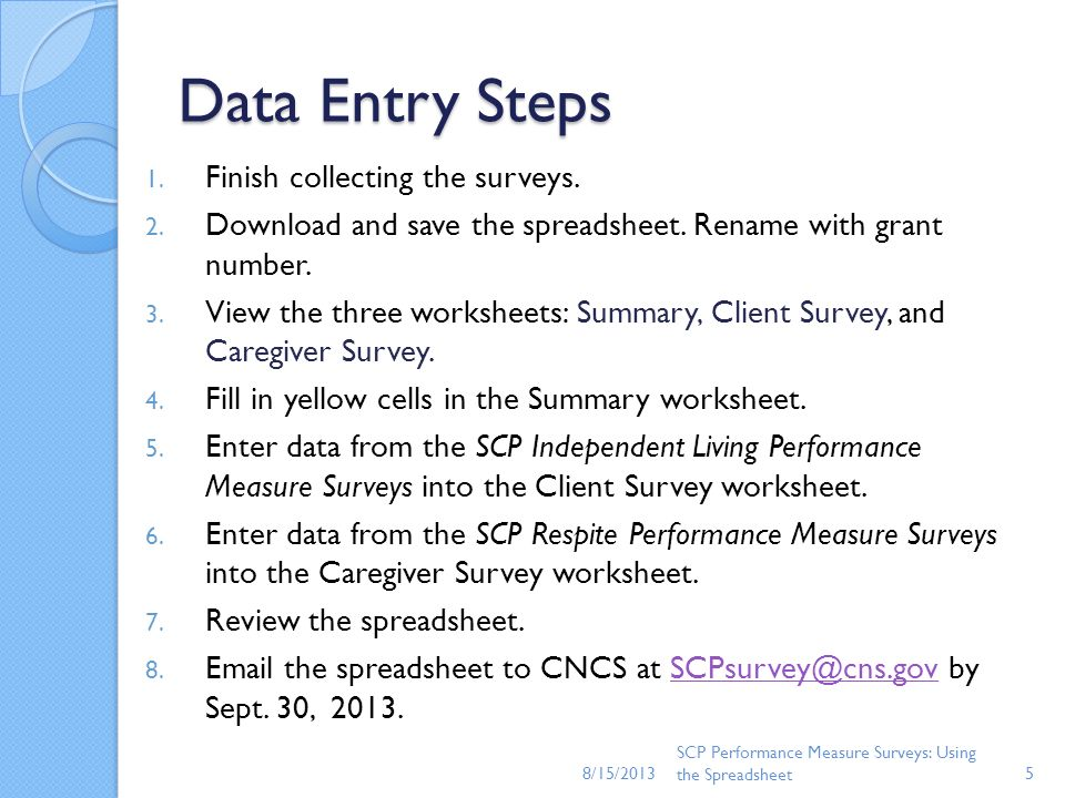 Data Entry Steps 1. Finish collecting the surveys. 2. Download and save the spreadsheet. Rename with grant number. 3. View the three worksheets: Summa