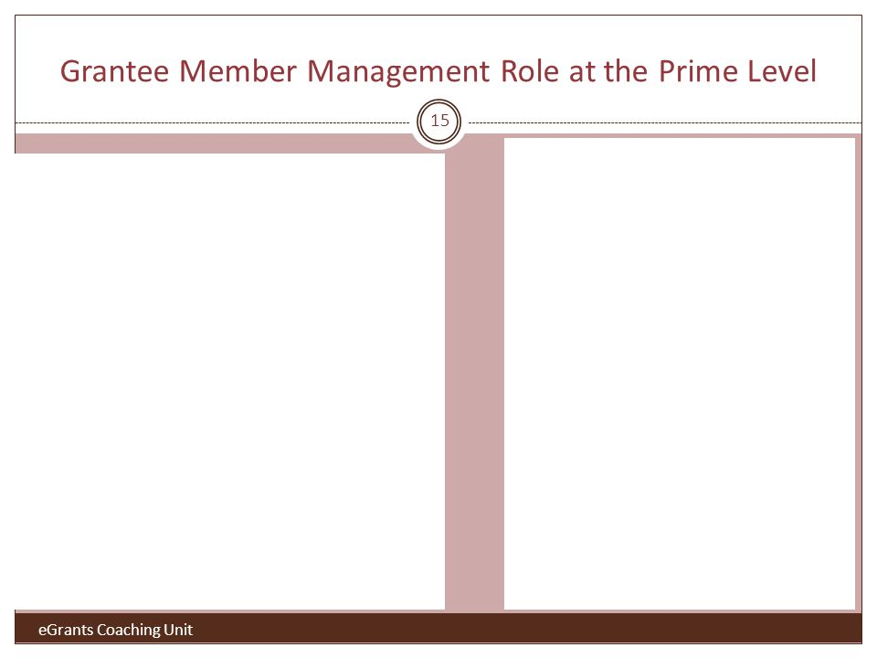 Grantee Member Management Role at the Prime Level 15 eGrants Coaching Unit