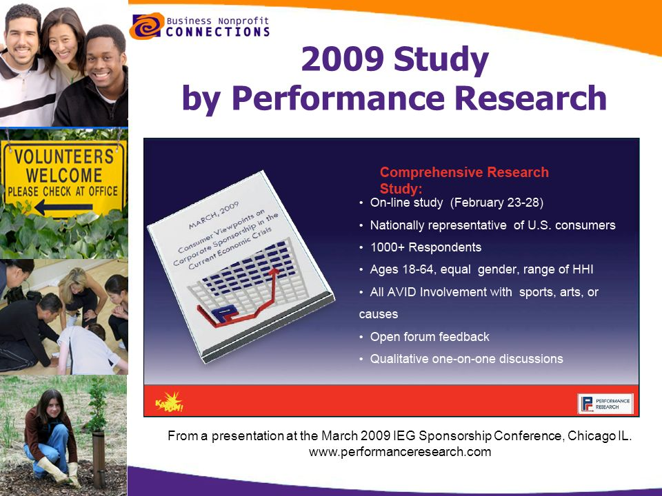 2009 Study by Performance Research From a presentation at the March 2009 IEG Sponsorship Conference, Chicago IL. www.performanceresearch.com
