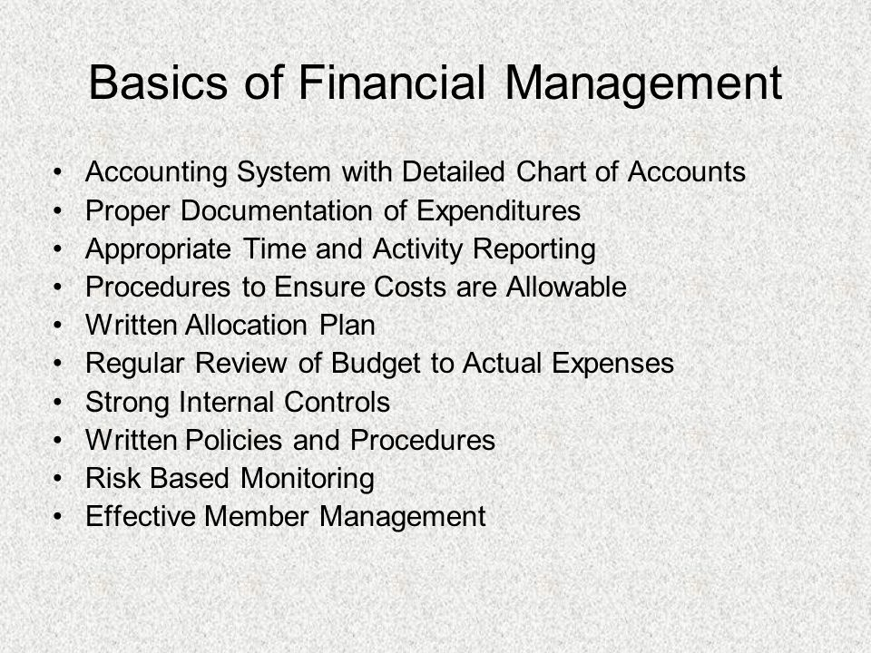 Basics of Financial Management Accounting System with Detailed Chart of Accounts Proper Documentation of Expenditures Appropriate Time and Activity Reporting Procedures to Ensure Costs are Allowable Written Allocation Plan Regular Review of Budget to Actual Expenses Strong Internal Controls Written Policies and Procedures Risk Based Monitoring Effective Member Management