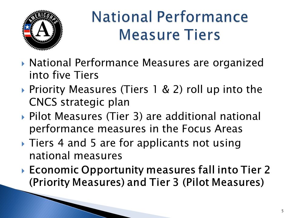 National Performance Measures are organized into five Tiers Priority Measures (Tiers 1 & 2) roll up into the CNCS strategic plan Pilot Measures (Tier 3) are additional national performance measures in the Focus Areas Tiers 4 and 5 are for applicants not using national measures Economic Opportunity measures fall into Tier 2 (Priority Measures) and Tier 3 (Pilot Measures) 5
