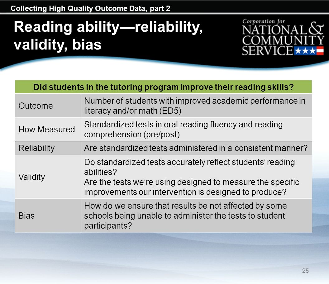 Collecting High Quality Outcome Data, part 2 Did students in the tutoring program improve their reading skills? Outcome Number of students with improv