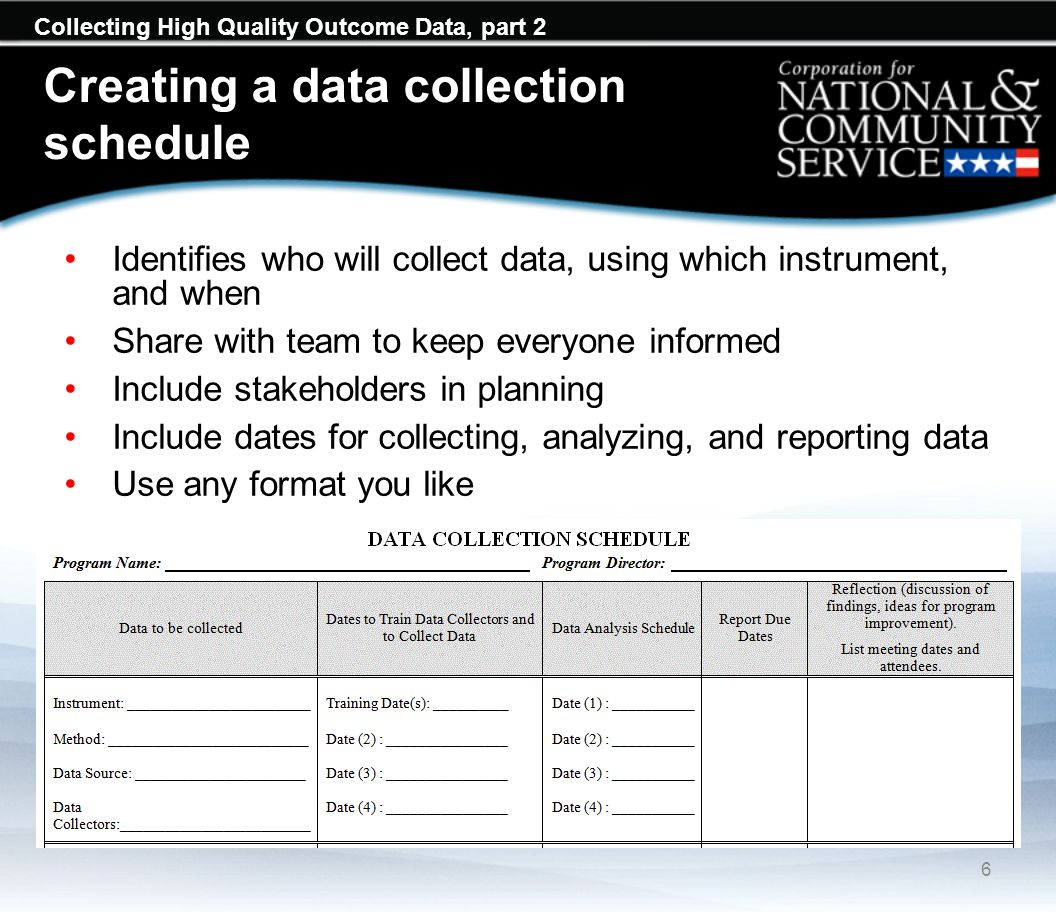 Collecting High Quality Outcome Data, part 2 Creating a data collection schedule 6 Identifies who will collect data, using which instrument, and when
